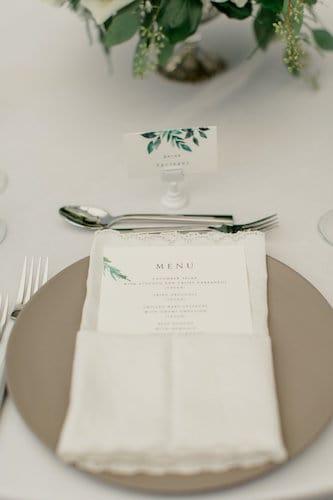 New Jersey Wedding - New Jersey home wedding - New Jersey tented wedding - New Jersey Jewish wedding - table setting. - modern china - lace napkin - custom menu card - placecards