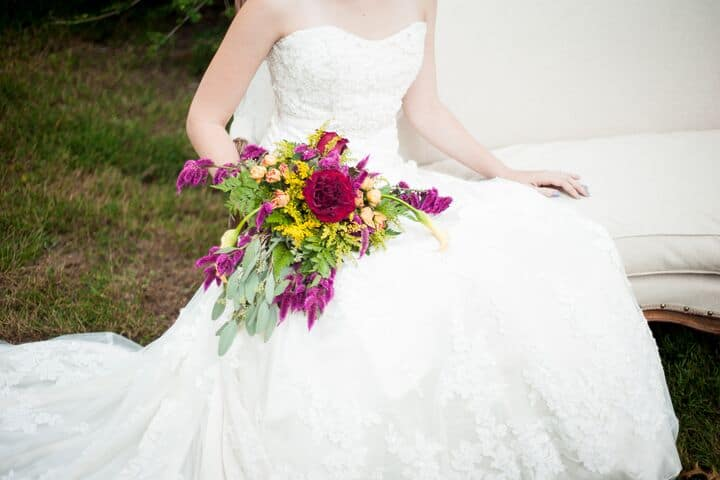 Burgundy Green Bride Bouquet Organic