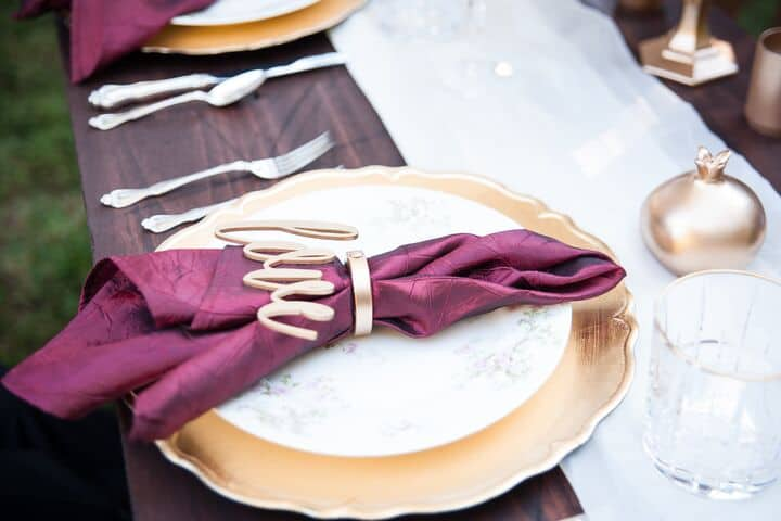 Farm Table Burgundy Gold Place Setting 1