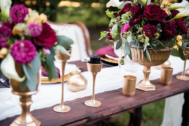Gold Burgundy Centerpiece Idea1