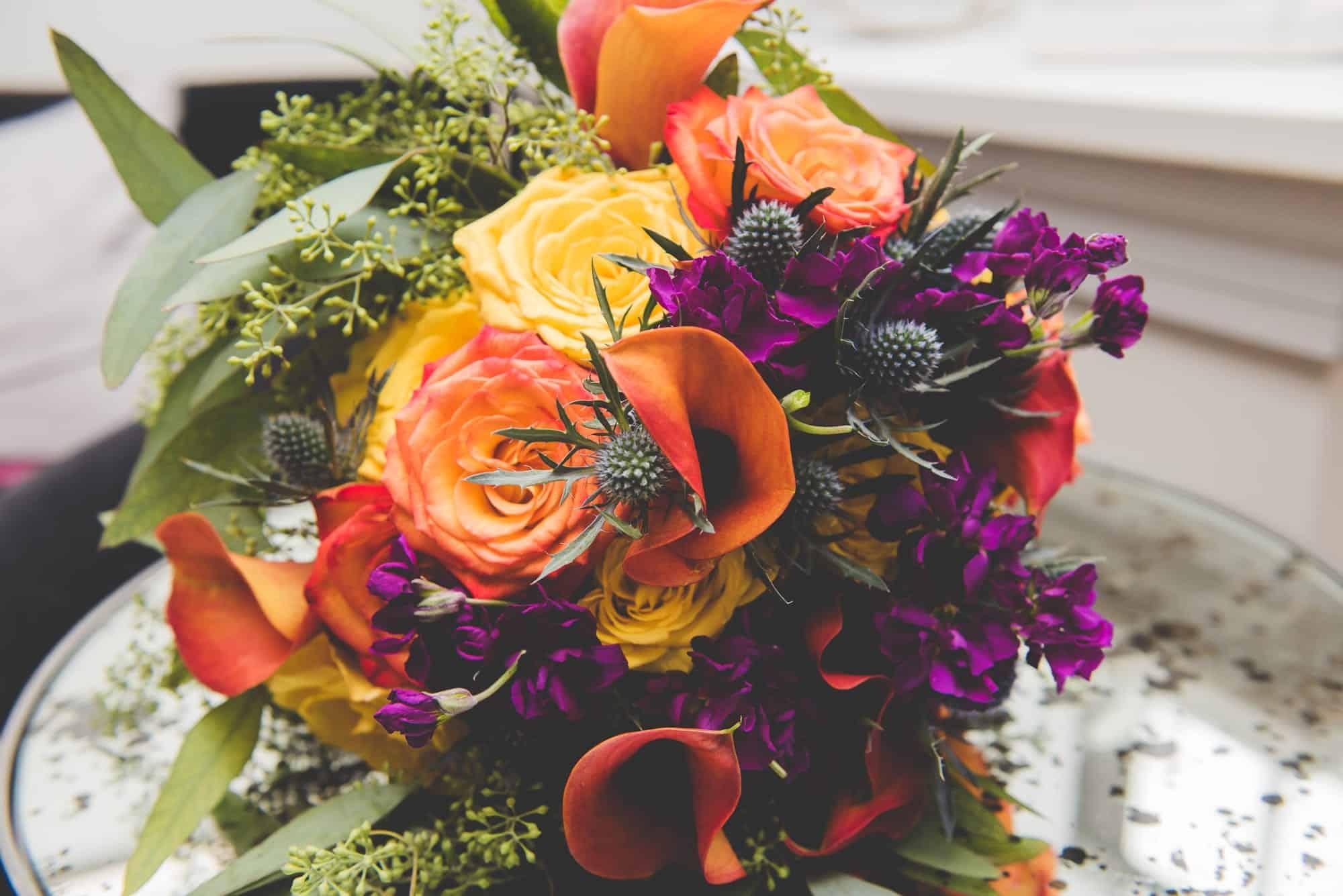Orange Purple Fall Bouquet Centerpiecec
