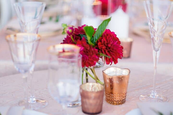 Rose Gold Wedding Decor Red Flower