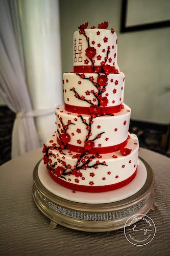 Elegant Events - Chinese themed wedding cake - wedding cake with red ribbons and cherry blossoms - double happiness