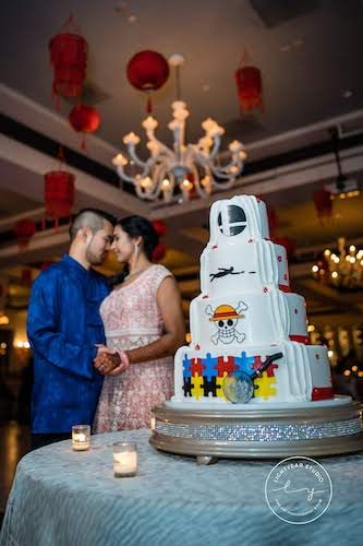 Bride and groom - bride and groom at sangeet - bride and groom at tea ceremony - personalized wedding cake