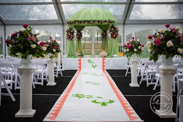 Indian wedding ceremony - custom aisle runner- mandap - green fabric mandap - floral ceremony decor
