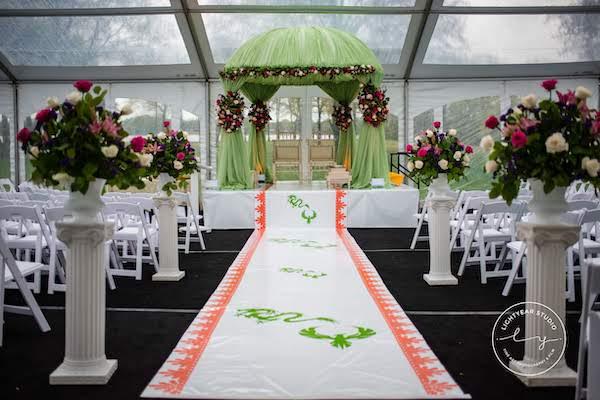 Indian wedding ceremony - custom aisle runner- mandap - green fabric mandap - floral ceremony decor