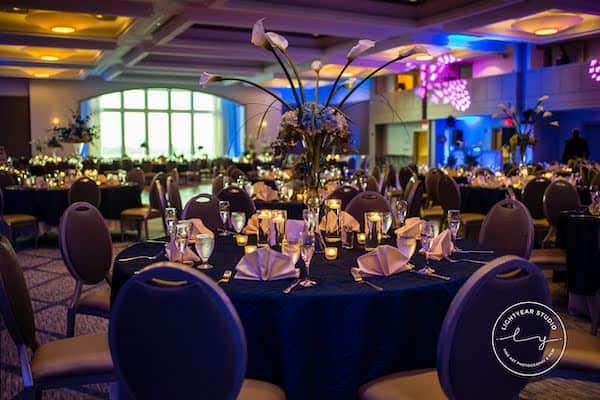 Hilton Penn's Landing wedding reception - navy blue wedding decor - Philadelphia wedding - Philadelphia multicultural wedding celebration
