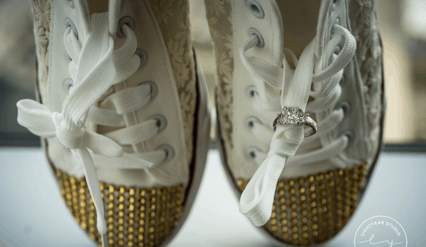 bride's shows - comfortable shoes for brides - brides shoes with gold sparkles - wedding ring photos - wedding ring on bride's shoes