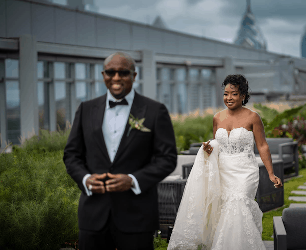 bride and groom - Philadelphia wedding - bride and groom in roof top garden