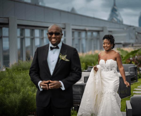 bride and groom - Philadelphia wedding - bride and groom in roof top garden