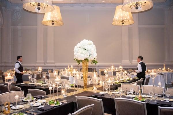 Le Meridien Philadelphia wedding reception - black and gold modern wedding reception - banquet tables forming an X
