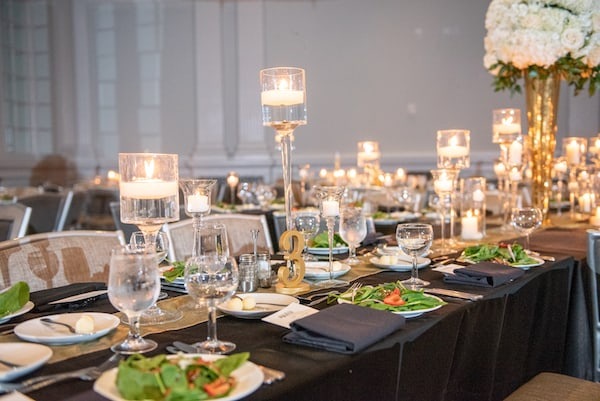 black and gold modern wedding decor - floating candles - modern wedding decor - Spinach and strawberry salad