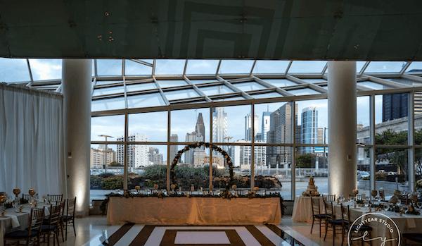 The Cira Center Atrium at JG Domestic - Philadelphia wedding. - wedding reception with views of Philadelphia