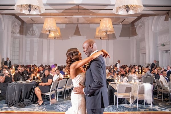 Le Meridien Philadelphia wedding reception  - just married - couple doing their first dance
