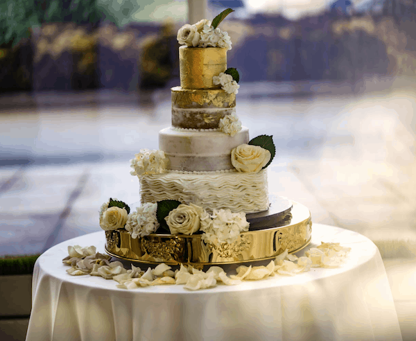 wedding cake - ruffled wedding cake - gold foil wedding cake