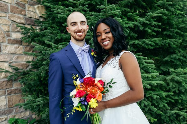 bride and groom at their wedding rescheduled because of COVID 19