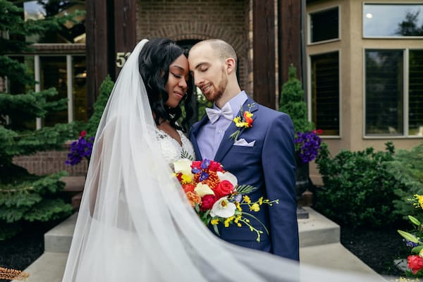 couple just married in an intimate wedding ceremony after postponing during COVID