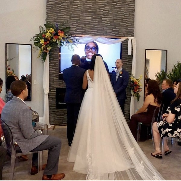 wedding officiant online officiating a wedding broadcast on ZOOm