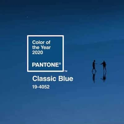 color chip of Pantone's color of the year for 2020 - classic blue