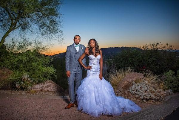 Newlyweds sunset photos at the Sanctuary Camelback Resort in Arizona