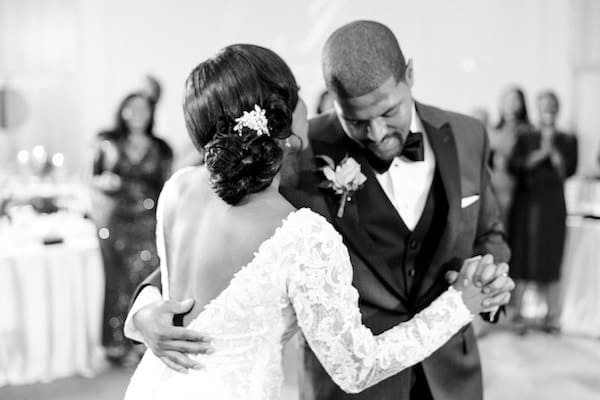 bride and groom dining to their first dance in the ballroom at the Independence Visitor Center in Old City Philadelphia