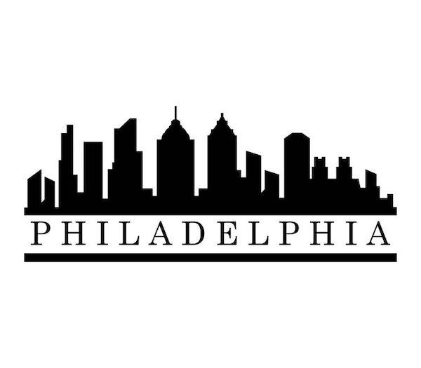 Black and white image of the Philadelphia skyline