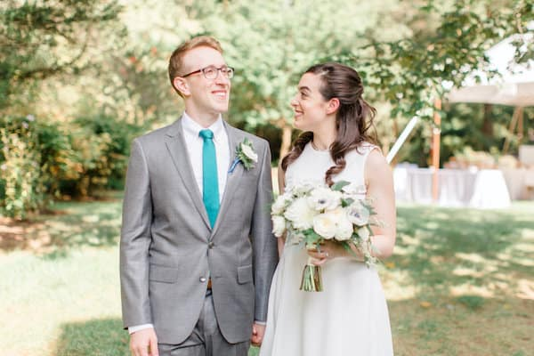 Bride and Groom at their Philadelphia destination wedding at her parent's home