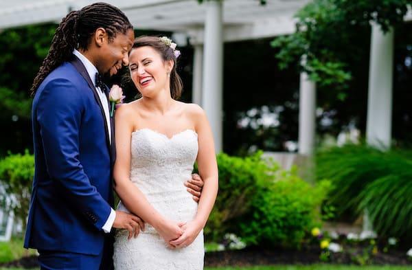 Bride and Groom enjoying their Philadelphia destination wedding at Knowlton Mansion