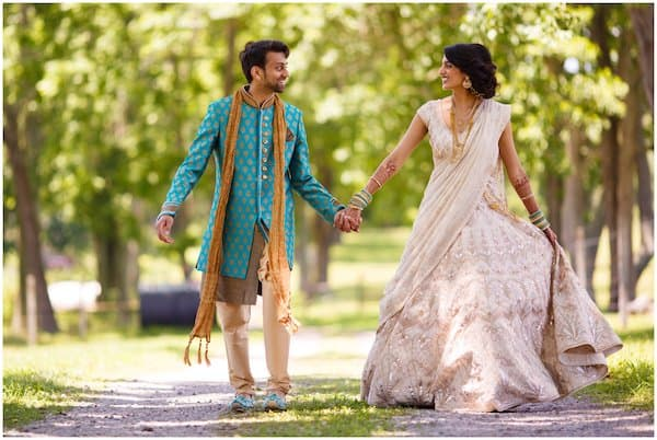 Indian bride and groom at Woods Edge Farm during their Philadelphia destination wedding