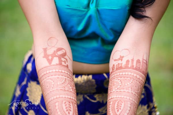 Indian brides henna reflecting Philadelphia and Nashville