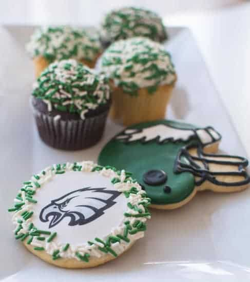 Iconic Philly themed Eagles cupcakes and cookies from Bredenbeck's Bakery