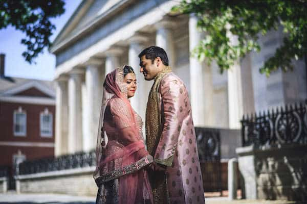 South Asian bride and groom in historic Old City Philadelphia