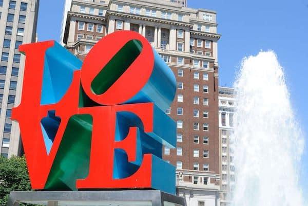 Giant LOVE statue in Philadelphia's LOVE Park popular for Philadelphia wedding couples