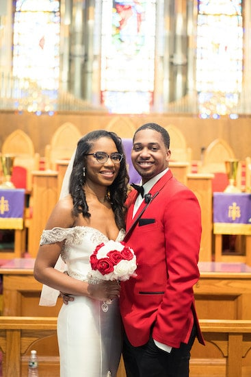 bride and groom after their intimate wedding at St Matthew AME in Philadelphia