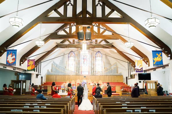 intimate and socially distant wedding at St Matthew AME in Philadelphia