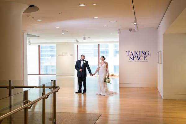 black bride and groom in PAFA's Hamilton Gallery