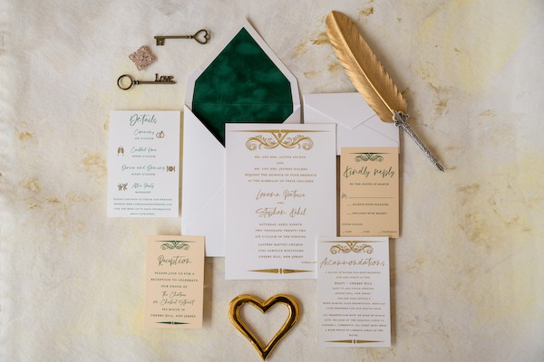 Hunter Green and Gold custom invitation suite as invitation for a Glam Styled Shoot at the Pennsylvania Academy for the Fine Arts