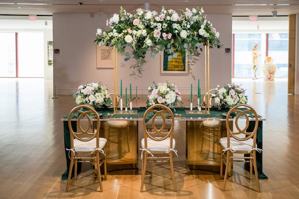 hunter green and gold reception table for a PAFA styled shoot in Philadelphia