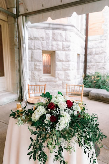 gold, red and white sweetheart table on the south terrace at Cairnwood estate