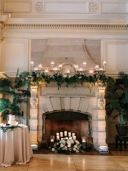 elegant fireplace in the Grand Hall of the Cairnwood Estate