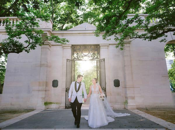 bride and groom at the Rodin Museum in Philadelphia