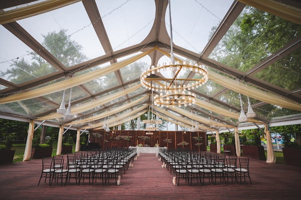 Cescaphe Franklin's View clear tent outdoor wedding venue set for a wedding ceremony
