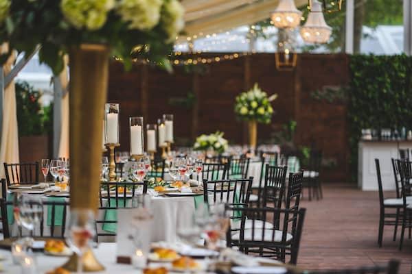 Beautiful wedding reception at Cescaphe's Franklin's View outdoor wedding venue