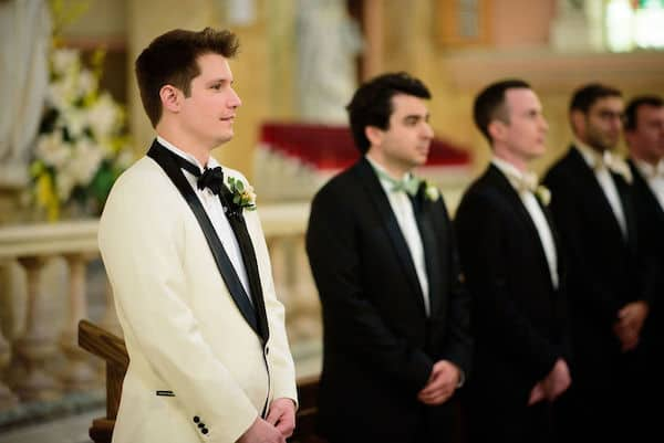 groom waiting for his bride's arrival at their Philadelphia wedding