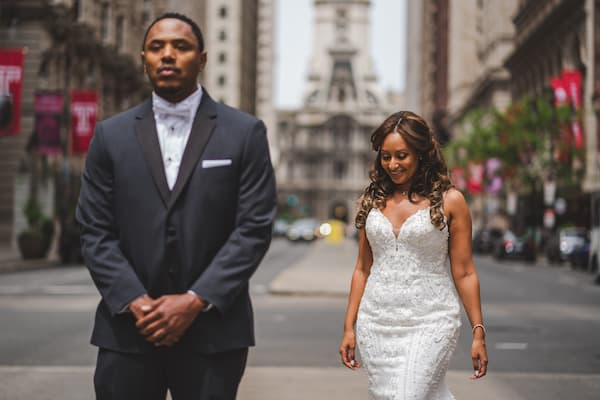 bride stopping traffic on South Broad Street for her first look