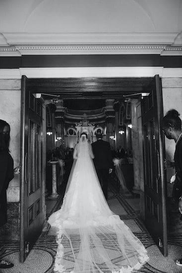 bride and father entering The National Shrine of St Rita of Cascia