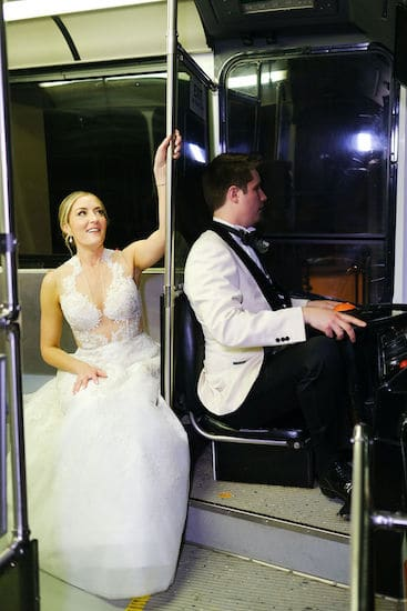 bride and groom on a SEPTA bus in an exhibit at Philadelphia's Please Touch Museum