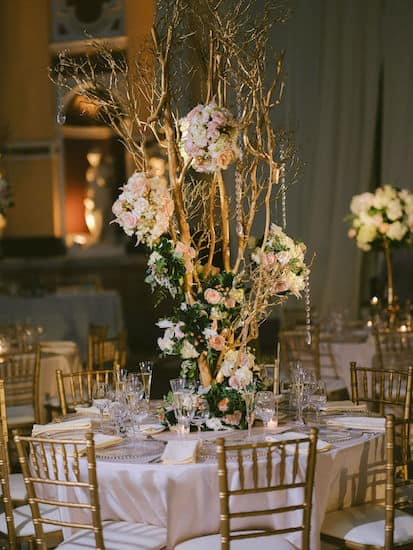 gold and blush wedding reception decor in Hamilton Hall at Philadelphia's Please Touch Museum