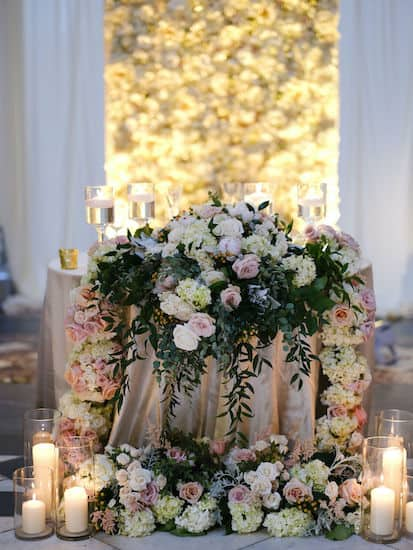 luxurious gold and blush sweetheart table in Hamilton Hall at Philadelphia's Please Touch Museum