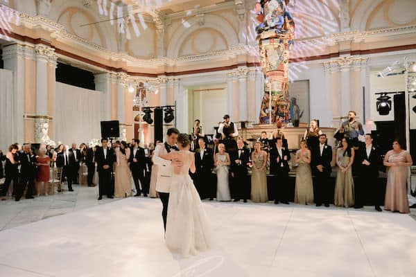 newlywed couple's first dance at their wedding reception in Hamilton Hall at Philadelphia's Please Touch Museum